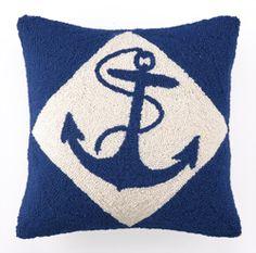 Blue Nautical Anchor Hook Pillow