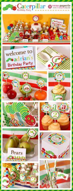 birthday party invitations, caterpillar printabl, hungry caterpillar birthday, birthday parties, caterpillar parti, 1st birthday, birthday party decorations, baby birthday party food, parti idea