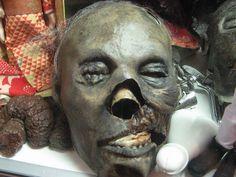 Replica of mummified head of Marquis de Sade.