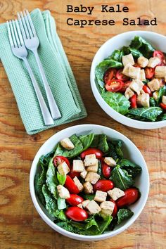 Baby Kale Caprese-Style Salad with Fresh Mozzarella, Tomatoes, and Basil for the last few weeks of summer! [from Kalyn's Kitchen]