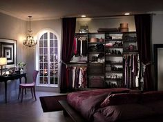 Hot. closet doors, color schemes, the view, bedroom colors, bedroom closets, dream bedrooms, closet space, organized closets, curtain