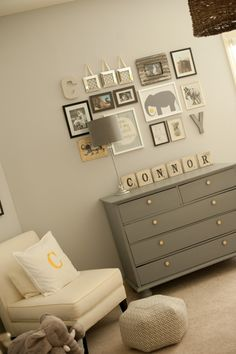 elephant nursery, wall collage, color schemes, dresser, gallery walls, boy rooms, boy nurseries, babies rooms, scrabble letters