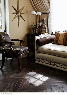An Teak Large Herringbone in Coffee, makes an elegant statement in this living room. Walker Zanger's AnTeak collection Crafted from reclaimed teak wood.