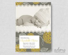 Vintage Style Yellow & Grey Floral Baby Birth Annoucement by AdorePaperDesign #etsy #baby #birth #announcement #printable