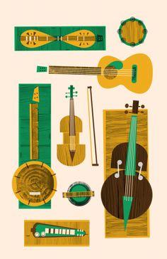 Bluegrass bluegrass state, instruments, illustr