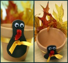 Easy Thanksgiving Craft- cute for boys & girls to make and maybe fill with candy. Use craft foam for turkey's body, maybe red felt or a piece of chenille pipe cleaner for waddle, jiggle eyes, ribbon, real or fake leaves and a small clay pot. All available at Michaels. Thanksgiving Crafts, Crafts Ideas, Terracotta Can, Fall Parties, Autumn Fall, Clays Pots, Thanksgiving Gift, Turkey Craft, Parties Crafts