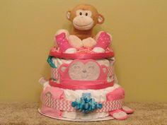 Girl Monkey Diaper Cake  Ship Ready by CaringCakes on Etsy, $75.00