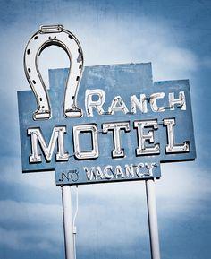 motel sign, blue, neon signs, retro motel, vintage signs, vintag sign, retro vintage, clowns, ranch motel