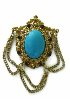 Florenza Victorian Revival Filigree Turquoise Brooch by IchLiebeVintage, $56.00