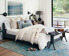 add depth with different materials and textures | eclectic bedroom styling