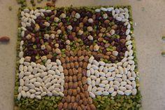 Mosaicos con semillas.