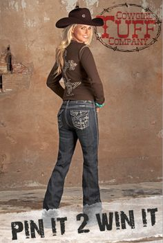 """Re-Pin 2 Win these Cowgirl Tuff """"Believe & It's Possible Tan"""" Jeans that are retailed for $96 . Every pair of these jeans purchased we will donate five dollars to Western Wishes Charity. Happy Pinning!"""