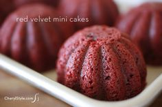 Cream cheese filled red velvet mini cakes