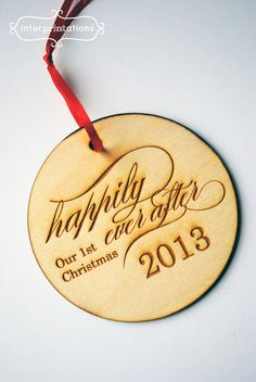 Personalized Wood Ornament, Newlyweds First Christmas, Laser Engraved, by Interprintations, $9.00