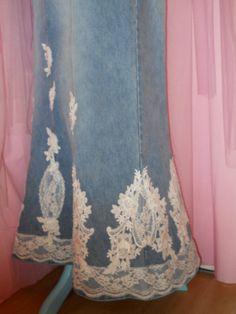 L/XL Size 14/16 Long denim skirt, Ankle length faded blue denim skirt - Upcycled altered clothing - Victorian skirt - distressed denim skirt on Etsy, $69.00