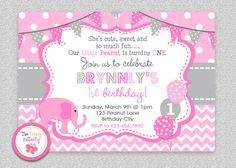 Pink and Grey 1st Birthday Elephant Birthday by TheTrendyButterfly
