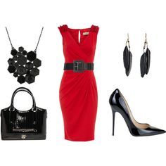 hot outfits, little red, black outfits, accessori, the dress, work outfits, shoe, red black, date night outfits