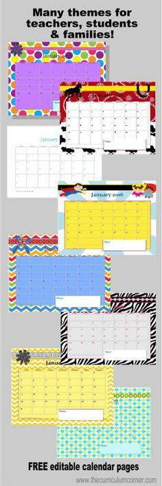 school calendar template, teacher printable calendar