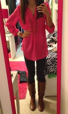 Fall Outfit With Long Boots With Pink Shirt