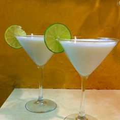 Key lime pie martini:  2 parts Pinnacle key line vodka, 1 part triple sec, 1 part cream, splash of lime juice.  Yum!