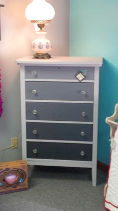 Re Finished Dresser in graduating shades of grey available at Vintage This Re Purpose That on Facebook