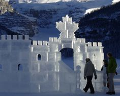 Walking through the Ice Castle at Lake Louise