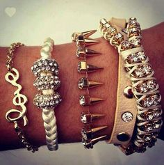 ❤ • #bracelets • #jewelery • #girls • #love •. #summer • #spring • #style • #fashion • #trend • #ootd • #accessories • #spikes