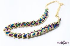 TINNLILY Peacock Silk Hex Nut and Chain Woven Necklace with Swarovski Crystals