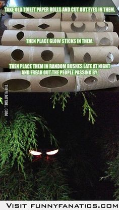 Glowing Eyes~ Glow sticks in toilet paper rolls- a fabulous idea for Halloween! Or April Fools!