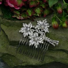 Original art deco pave rhinestone hair comb # bridal hair comb