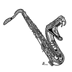 Day 9 of #Inktober 2014 by #GIGART. Damn that guy plays a mean saxophone! Seriously mean. Like it will bite you in the face mean. He should stick to playing the piano.