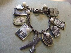 Most of the charms on this bracelet  were made using  rubberstamped images on shrink plastic.