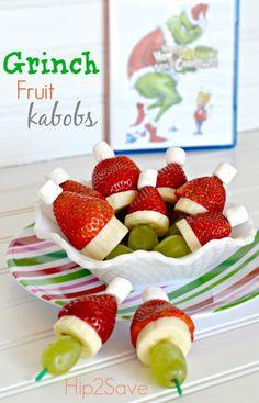 Grinch Fruit Kabobs Hip2Save christmas parties, pocket, christmas snacks, food, fruit kabobs, grinch fruit, grinch kabob, preschool snacks, holiday snacks