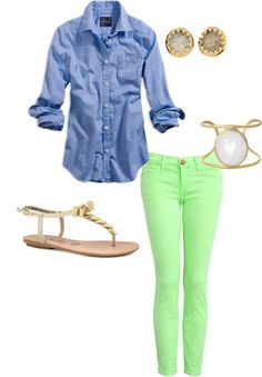 blue jeans shirt, colored jeans, simple accessories