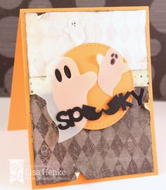 handmade Halloween card from Lil' Inker Designs ... aged shabby look ... luv the little ghosts die cut from vellum ...