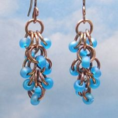 Copper Shaggy Loops Chain Mail Earrings, Oxidized Chain Maille, Aqua Glass Beads, Dangle, Flip Flop Weave, Beaded Metalwork Jewelry