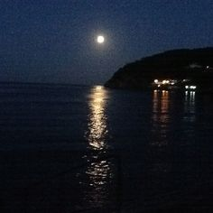 Full moon on Oddicombe beach, Devon.