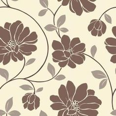 The Wallpaper Company 56 sq. ft. Brown and Beige Large Scale Retro Floral Trail Wallpaper-WC1282377 at The Home Depot