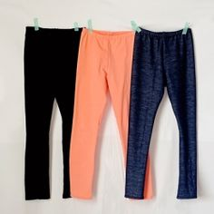 Make your own leggings!  Post links to a free little girls pattern, but gives instructions for any size.