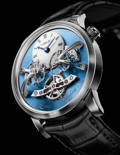 MB&F LM2 Legacy Machine No. 2 Watch - with sky blue dial. Limited Edition of 18 pieces.  Price: $190,000.00 USD.