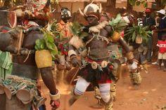 Bijago warrior dancers displaying their intense dancing skills.
