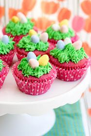 Raspberry Easter Cupcakes. too cute!
