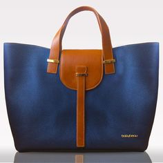LOVE this leather navy blue diaper bag! So classic!