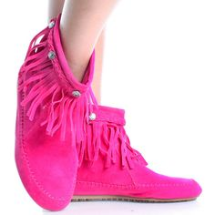 Pink-Suede Fringe Boho Tribal Indian Moccasins Women Flat Ankle Boots