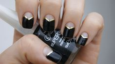 black triangular half-moons with gold striping tape - nail art - manicure - neutral - metallic accent