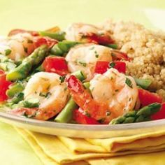Lemon-Garlic Shrimp & Vegetables, Quinoa with Fresh Herbs and a glass of white wine - all for under 500 calories!