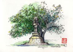 Beautiful tree detailing in this sketch by Land8 member Chunling Wu.