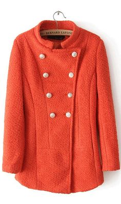 Long sleeved double breasted wool coat orange stunning