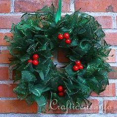 winter wreath ideas | Craft Ideas - Christmas Crafts - Glitter Ribbon Wreath