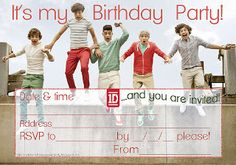 On this site three's LOTS  of  1D - One Direction party invitations for birthdays and sleepovers - there are lots more to choose and print  or save to your PC for later. These look great when printed on card stock rather than just paper.  These One Direction invitations for birthdays are able to be personalised. They have blanks where you can fill in the details of your own party such as time and date and of course RSVP details.